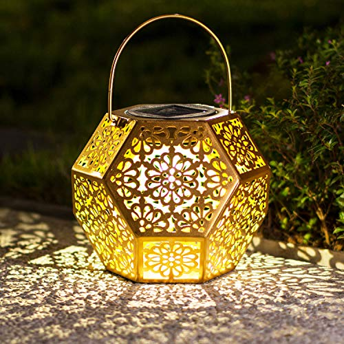 Solar Lantern Hanging Garden Outdoor Lights Metal Waterproof LED Table Lamp (Gold)
