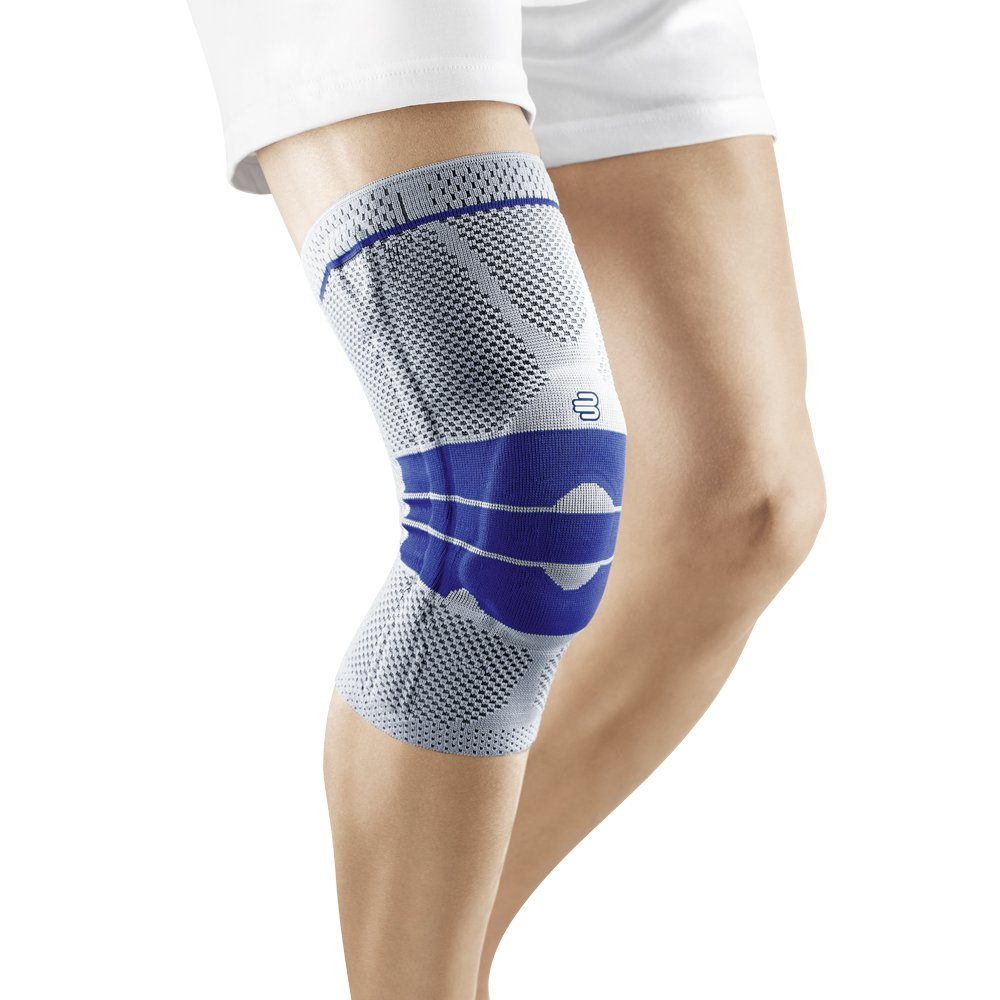 Bauerfeind GenuTrain Knee Support - breathable knit compression knee brace to relieve pain and swelling from arthritis, ACL injury, Miniscus tear, machine washable knee sleeve (Titanium, 7)