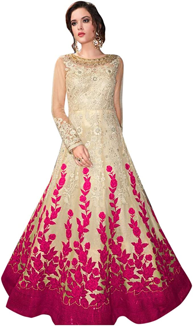 Amazon Com Shri Balaji Silk Cotton Saree Emporium Pink Designer Gorgeous Net Heavy Embroidery Anarkali Salwar Suit Women Indian Muslim Party Wear Bespoke 7969 Clothing