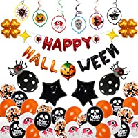Halloween Party Decorations - Cute Fun Halloween Birthday Decor Supplies Indoor, Pumpkin Banner, Black Spider Balloon Outdoor, Hanging Swirls Cards for Home, Inflatable Set Pack Clearance, By Hulaso