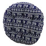MEMORECOOL LIGHT UP YOUR HOME Bohemia Simple Round Floor Cushion, Futon Round Seat Cushion Window Pad Chair Cushion Sofa Pillow 16 Inch, Blue Elephant Set of 2