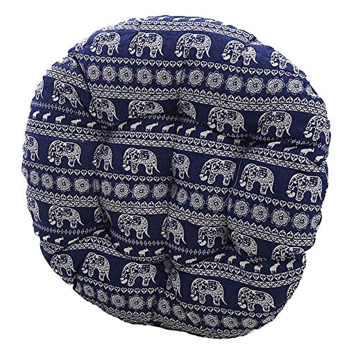YOUR HOME Bohemia Simple Round Floor Cushion, Futon Round Seat Cushion Window Pad Chair Cushion Sofa Pillow 16 Inch, Blue Elephant Set of 2 ()