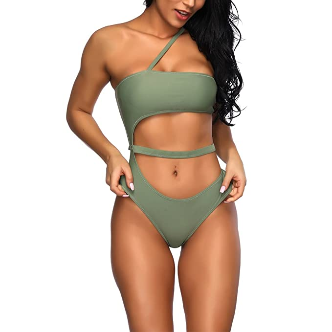 984511cfe56cf Women Off Shoulder Swimsuit One Piece Bikini Halter Monokini Bathing Suits  Bodycon