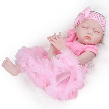 b05138a2fba8 UCanaan 20   Inch Full Body Soft Silicone Vinyl Girls Doll Reborn Newborn Baby  Dolls