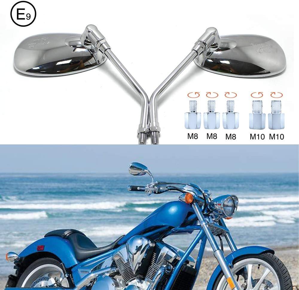M10 10mm Retrovisor moto cromados Espejos para manillar de motocicleta, espejos retrovisores laterales con paquete de tornillos para scooter Street Bike Cruiser Chopper Sport Bike ATV