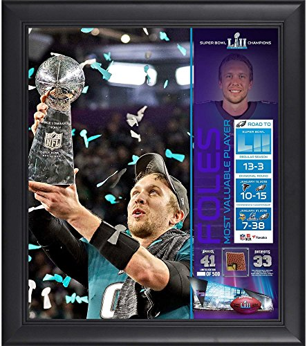 "Nick Foles Philadelphia Eagles Framed 15"" x 17"" Super Bowl LII Champions MVP Collage with a Piece of Game-Used Football - Limited Edition of 500"