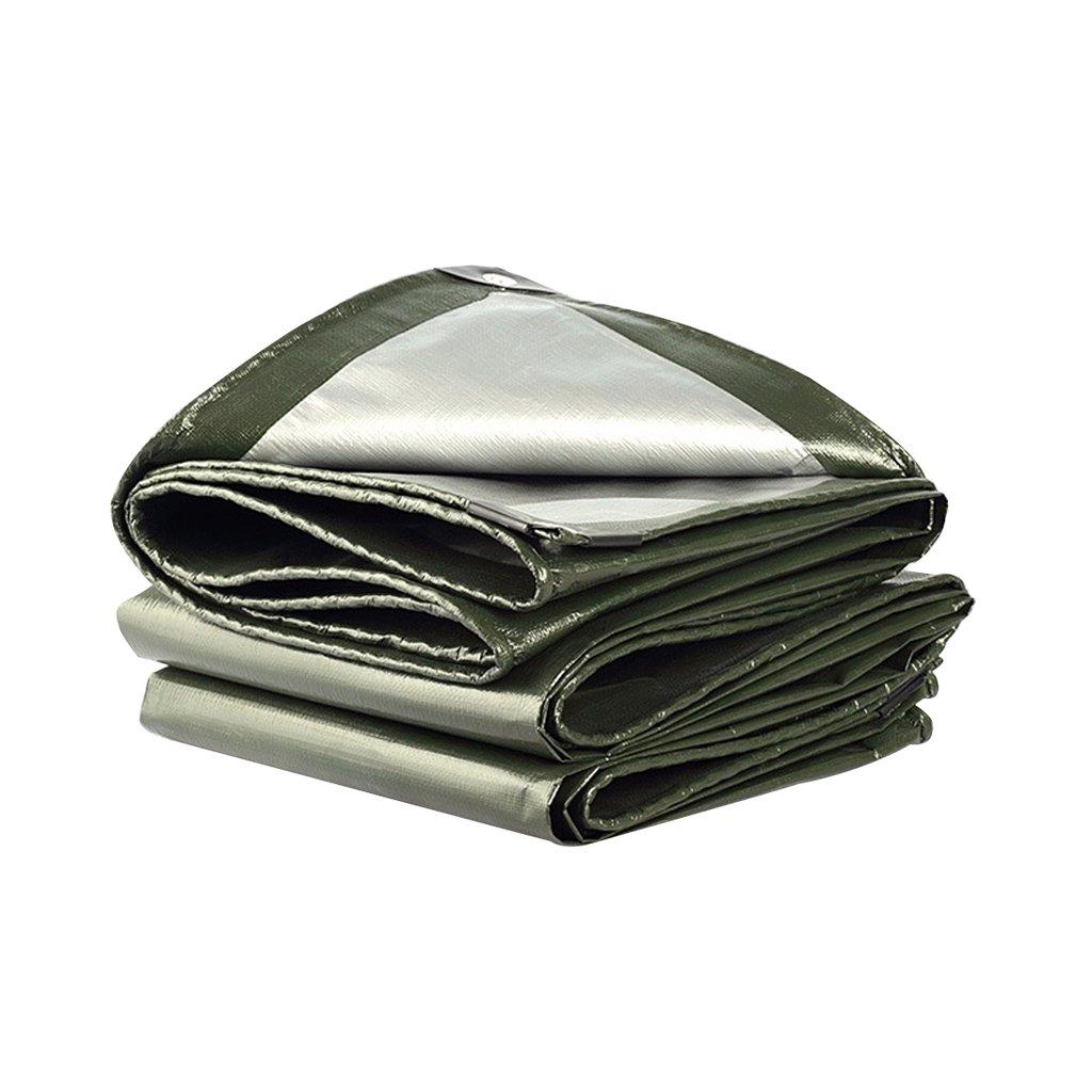 LQq-BÂches BÂche Polyéthylène Rain Cloth Puissant Prougeection Solaire Imperméable Utilisé dans Poncho Family Camping Jardin Extérieur, épaisseur 0.38mm, 210g   m2, Vert Armée + gris Argenté