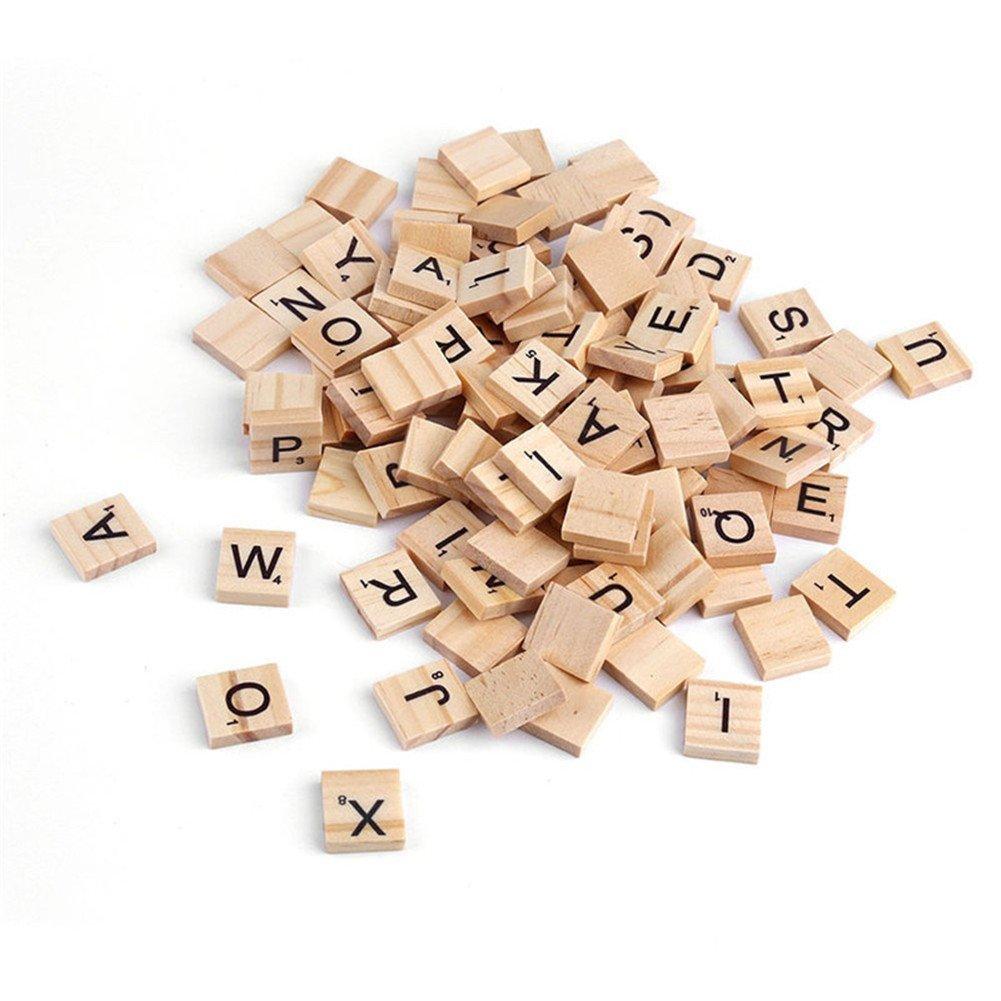 Vikenner 100 Pcs Wooden Letter Alphabet Scrabble Tiles Scrabbles Number Crafts English Words