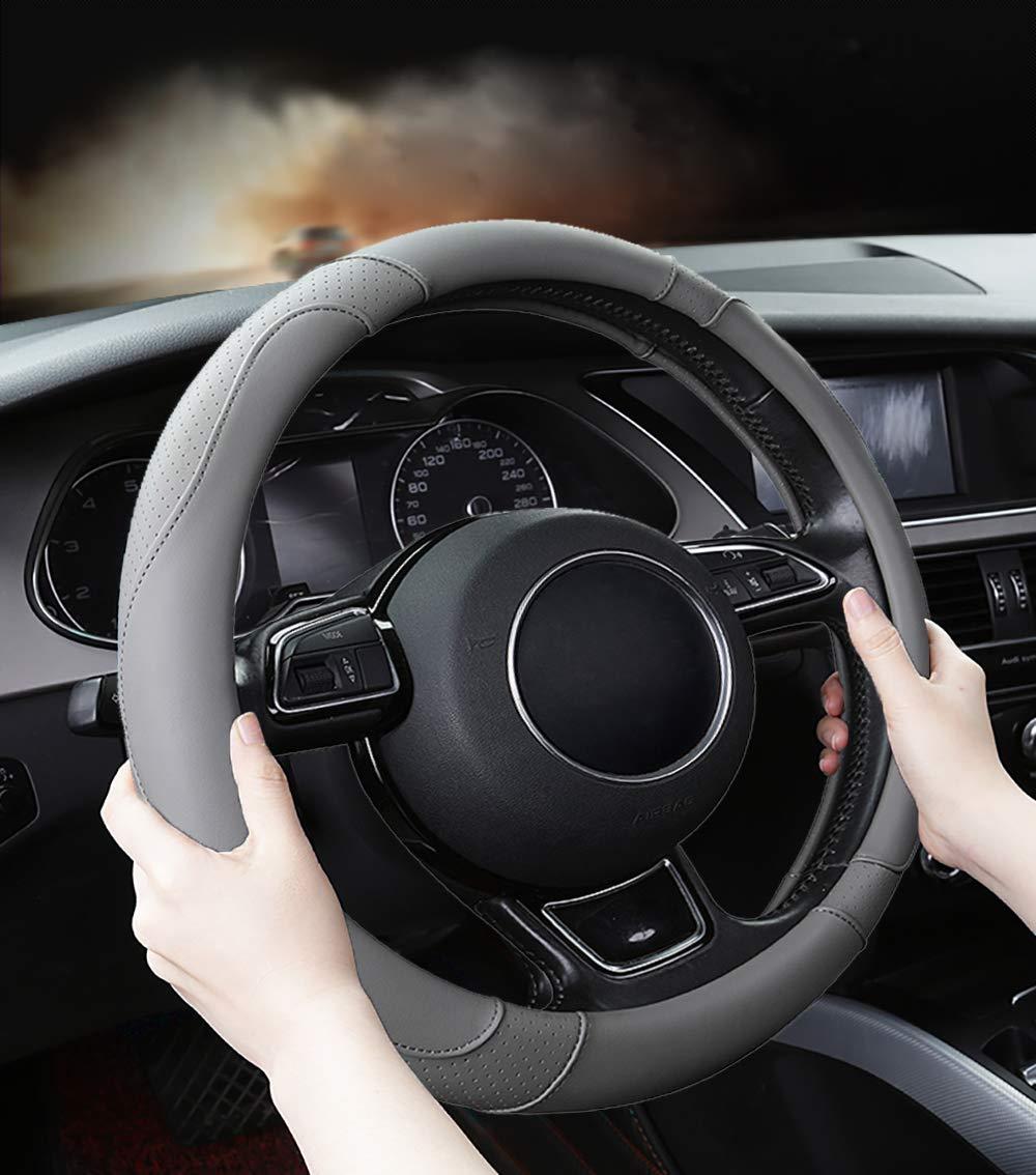 SFONIA Coprivolante per Auto Protezione Custodia Volante Cover in Pelle Microfibra Universale 37-38cm 15 Antiscivolo Traspirante Durevole Arancio