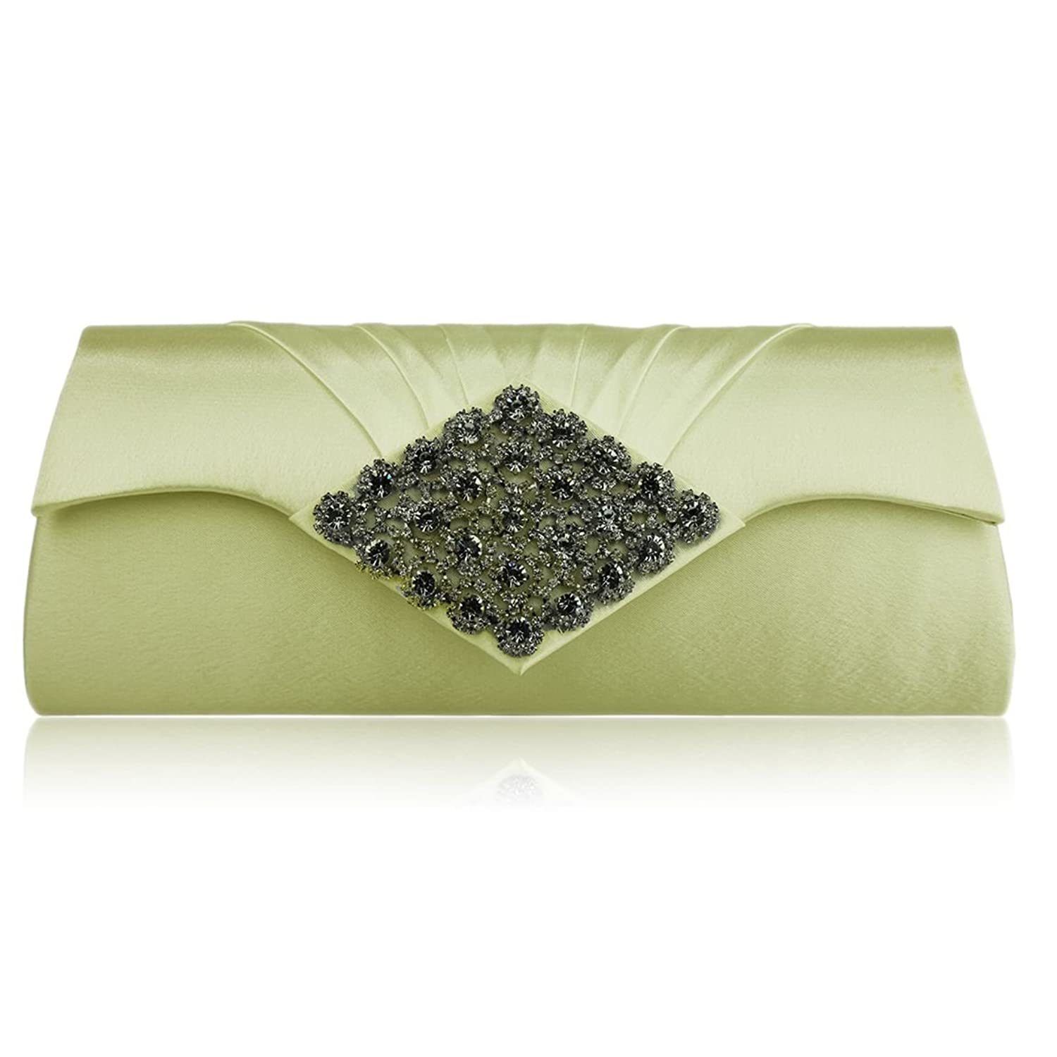"Womens Floral Crystal Satin Pleated Flap Over Evening Clutch Bag (10"" x 4"")"