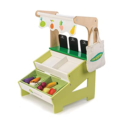 Tender Leaf Toys Farmer's Market Stall – Wooden Grocery Store Stand with Fruits and Vegetables - Social, Creative, and Imaginative Development – Learning Role Play Shop – Ages 3 Years +: Toys & Games