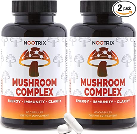 (2-Pack) Mushroom Complex by Nootrix - Premium Nootropic Supplement - Improves Cognitive Function & Memory, Boosts Immune System, Relieves Stress, Increases Clarity for Men and Woman