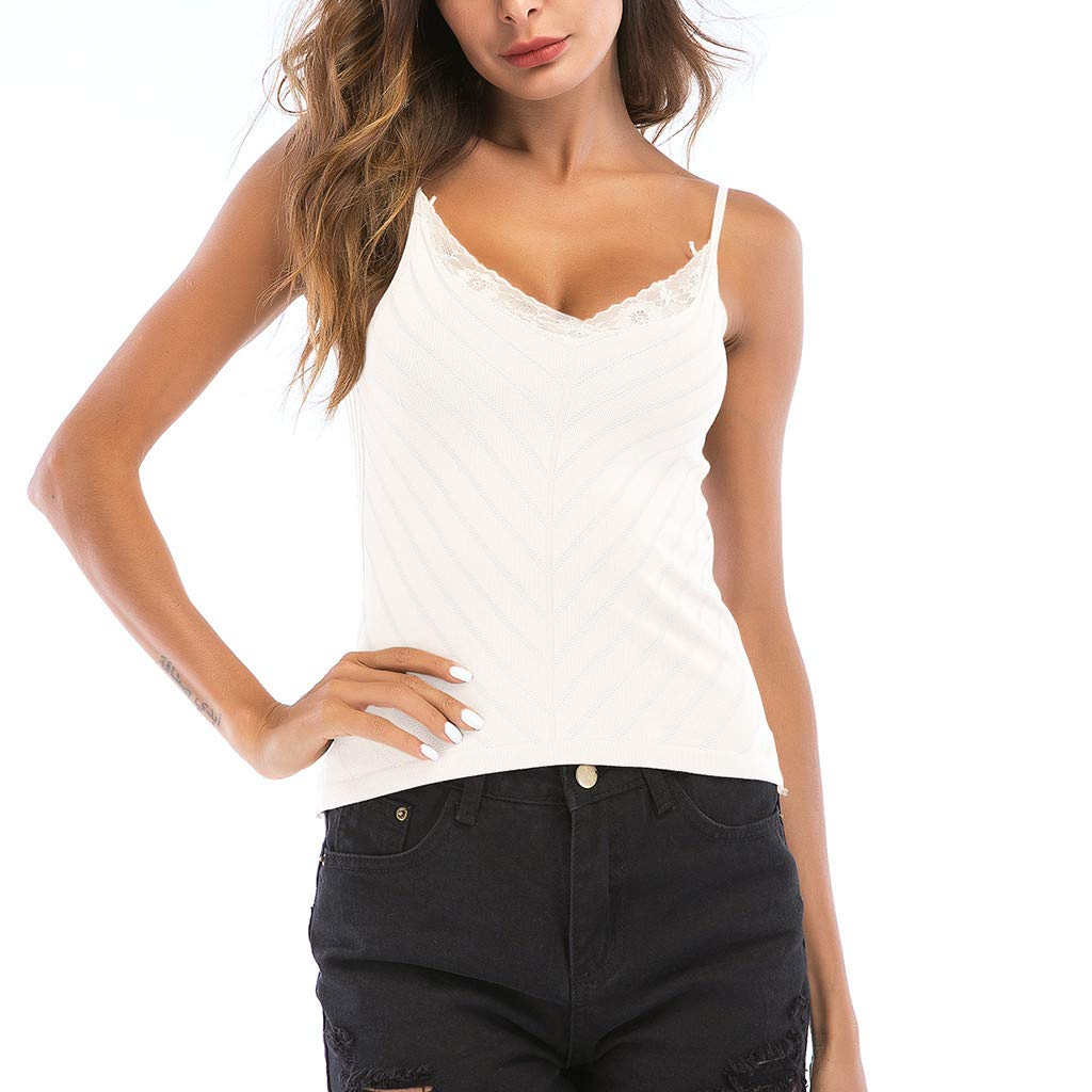 Roemdia Women's Leaf Slim Slim Tops Sexy Camisole Summer Knit Blouse White