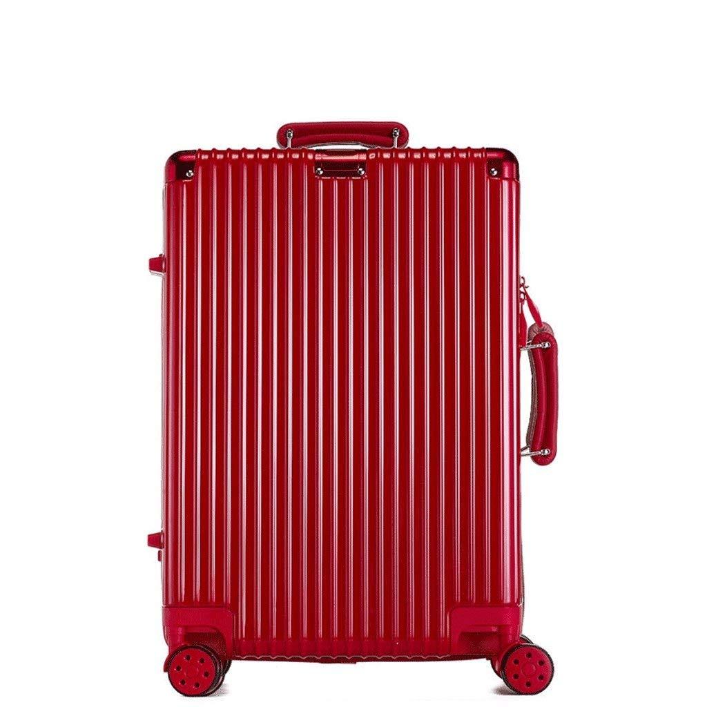 36-dianyejiancai ユニセックス、4つの車輪およびパスワードが付いている搭乗普遍的な手荷物のスーツケース、レトロのスーツケース箱のトロリー箱 (Color : 赤, サイズ : 22 inch) B07S3SLYM3 赤 22 inch
