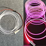 Raysell 3mm 16ft/5Meters PMMA Side Glow Optic Fiber Cable With 1.5W 12V LED Light Source illuminator Pink