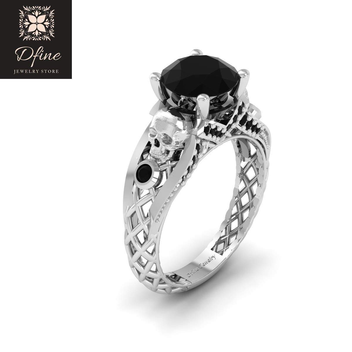 Gothic Wedding Rings.Amazon Com Solid 14k White Gold Black Diamond Gothic Engagement