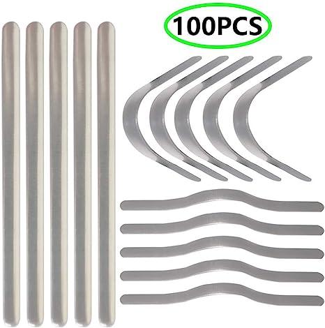 Nose Bridge 100PCS Shed Protector Aluminum 3.54 Inch Nose Bridge Strips for Mask , Adhesive Metal Flat Aluminum Bar Strip Straps Nose Bridge Band Clip for DIY Mask Handmade Crafting Making