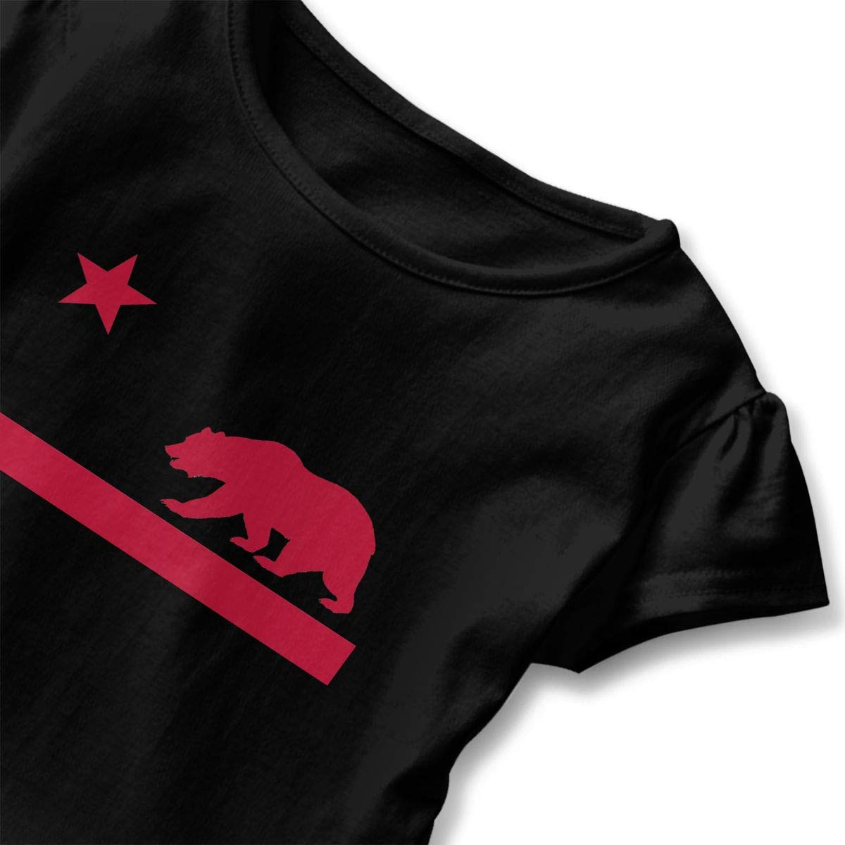 California Flag Bear Toddler Baby Girls Cotton Ruffle Short Sleeve Top Basic T-Shirt 2-6T