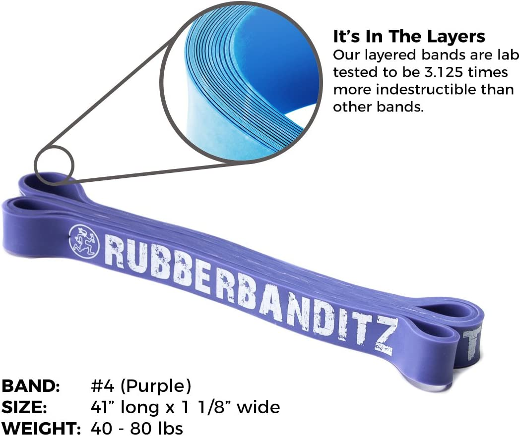 Choose from 7 sizes Resistance from 5-200 lbs 100/% Premium Latex Continuous Loop PT Bands for Fitness Stretching Exercise Stabilization Toning Rehab Recovery and Prehab Rubberbanditz 41 Multi-Layered Physical Therapy Resistance Bands