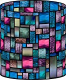 LampPix 10.5 Inch Custom Printed Table Desk Lamp Shade Lavender Stained Glass Style Medley (Spider Fitting)