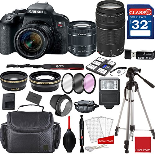 Canon EOS Rebel T7i DSLR Camera w/EF-S 18-55mm f/4-5.6 is STM and EF 75-300mm f/4-5.6 III Lenses + Professional Accessory Bundle