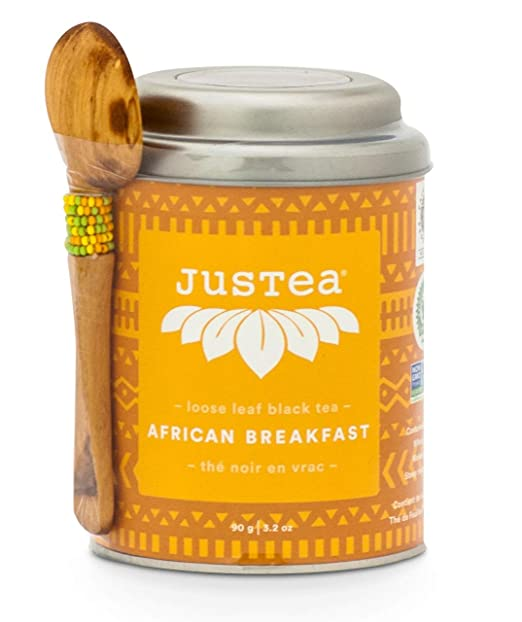 JusTea African Breakfast | Loose Leaf Black Tea with Hand Carved Tea Spoon | Over 40 cups 3.2 Ounce Tin | High Caffeine | Award-Winning | Fair Trade | Non-GMO