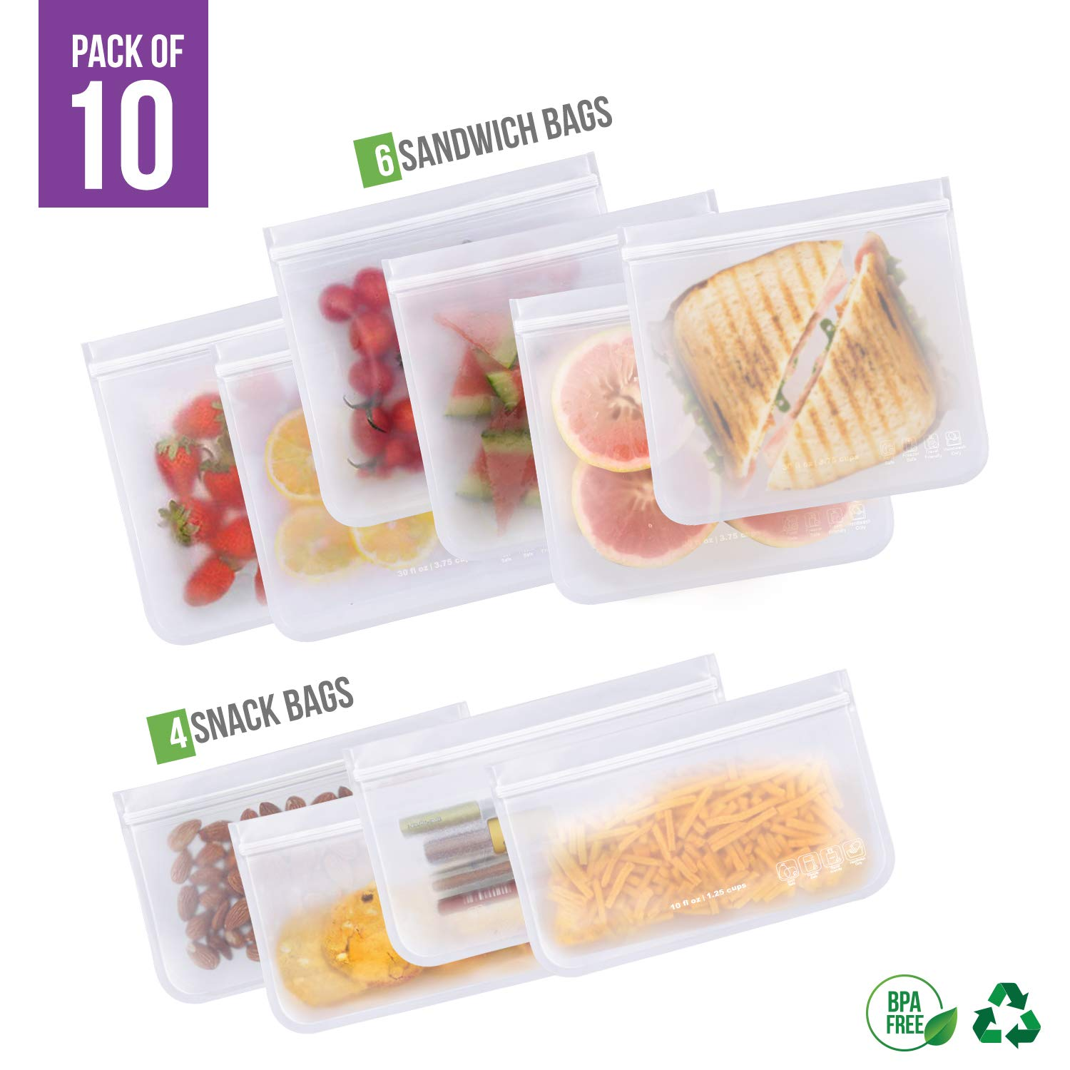 Reusable Sandwich Bags 10 Pack, BPA FREE Freezer Bags (6 Large Reusable Sandwich Bags + 4 THICK Reusable Snack Bags) Ziplock Leakproof Lunch Bags for Food Liquid Travel Items and Home Organization