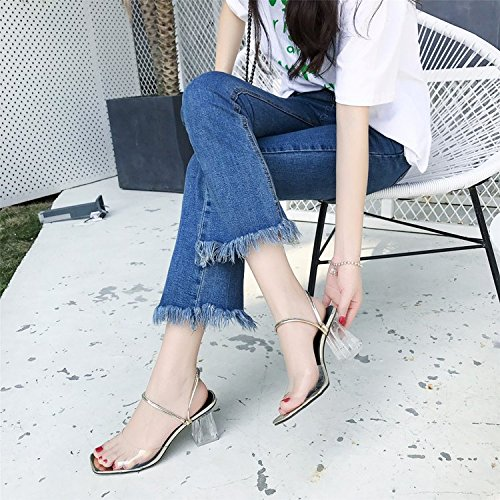 GAOLIM La Palabra Cristal Transparente Sandalias Con Gruesos Con Campo De Verano Para Zapatos De Mujer Desnuda, Zapatos De Tacón Alto