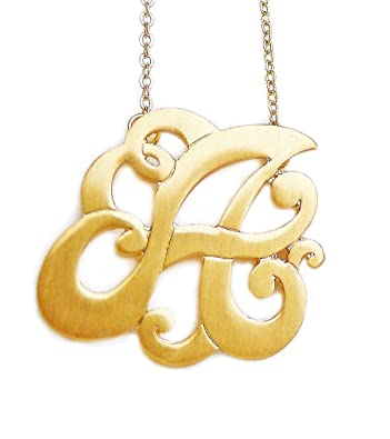 Amazon monogram initial pendant necklace personalized swirl monogram initial pendant necklace personalized swirl letter charm matte gold tone perfect gift letter a aloadofball