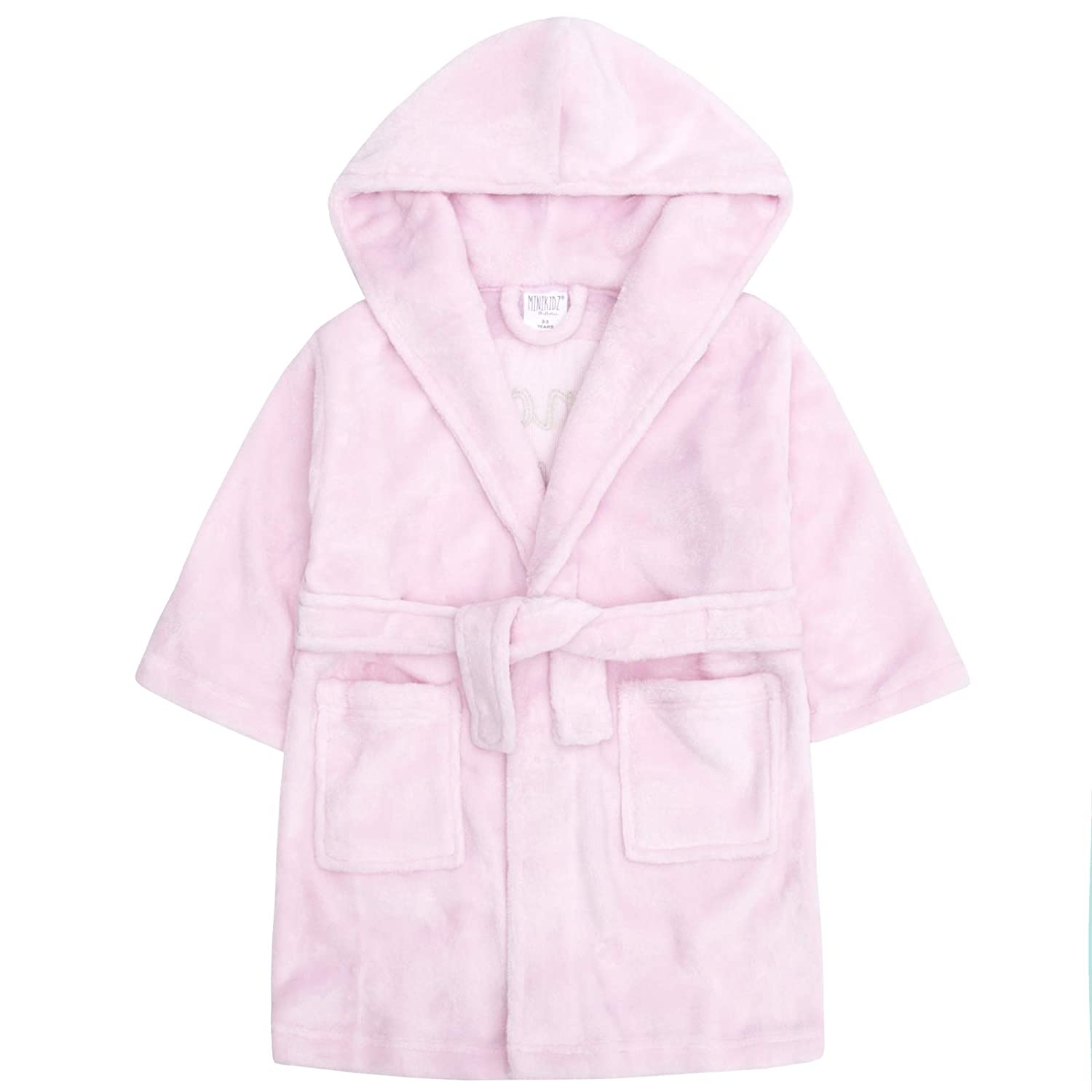 Girls Dressing Gown Pink Princess Squad Sequin Detail Hooded Robe Bath Robe