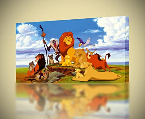 Amazon.com: The Lion King Simba Mufasa CANVAS PRINT Home Wall Decor ...