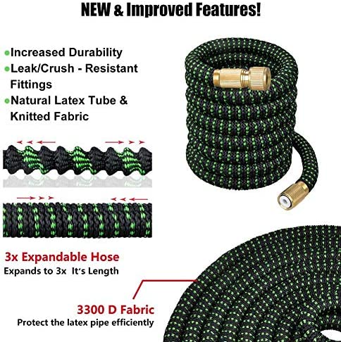 RZiioo Garden Hose,Expandable Strongest Magic Hose Pipe with Solid Brass Fittings & 10-pattern Spray Nozzle