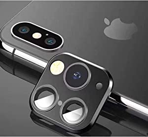 Svyaxfa Modified Camera Lens Seconds Change Cover for iPhone X/XS/XS/MAX Sticker Fake Camera for iPhone 11 Pro Max Metal Protector Change to iPhone pro/Max (Black Metal)
