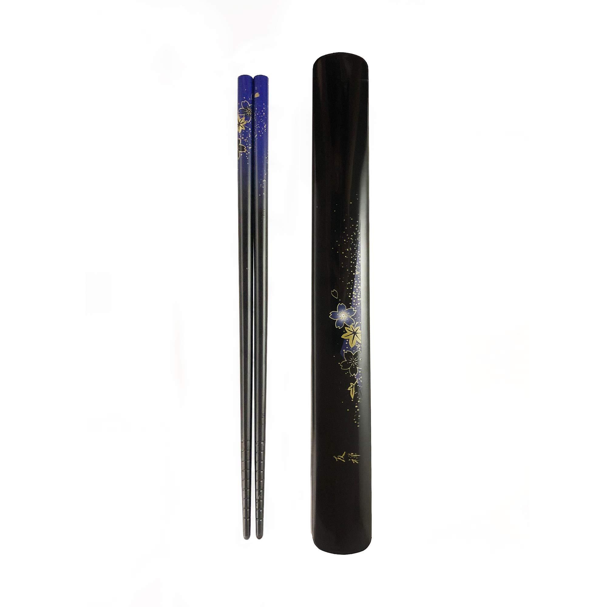 Portable and Dishwasher Safe Blue Youda Chopsticks Reusable Japanese Natural Wood Chopsticks 1 Pair with Case