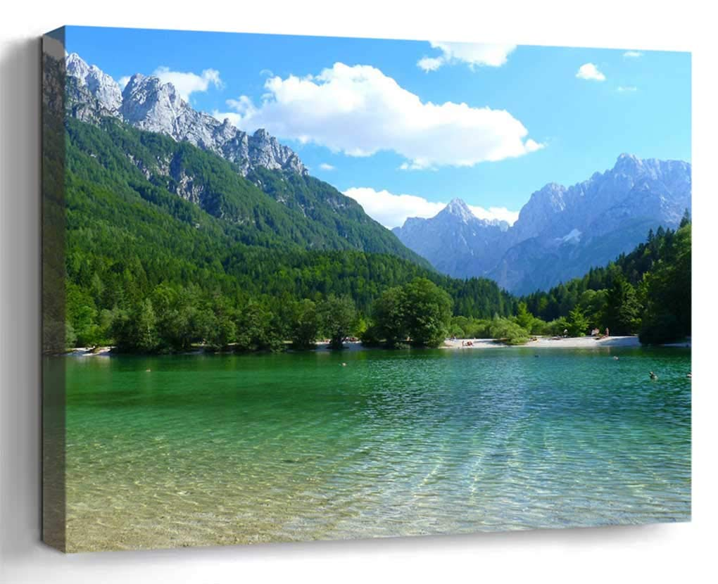 Wall Art Canvas Print Home Decor (20x14 inches)- Slovenia Mountains Lake Landscape Water Clea