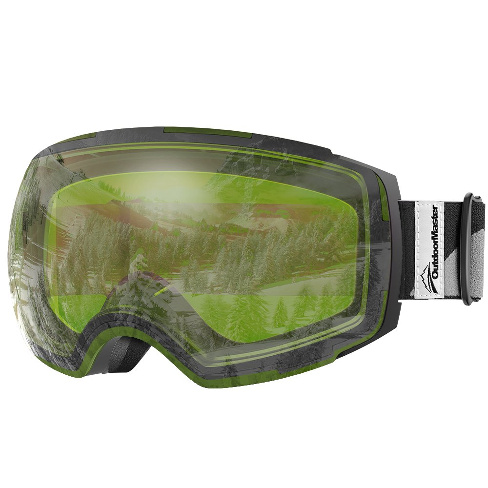OutdoorMaster Ski Goggles PRO - Frameless, Interchangeable Lens 100% UV400 Protection Snow Goggles for Men & Women (Black Frame VLT 80% Green Lens and Free Protective Case) by OutdoorMaster