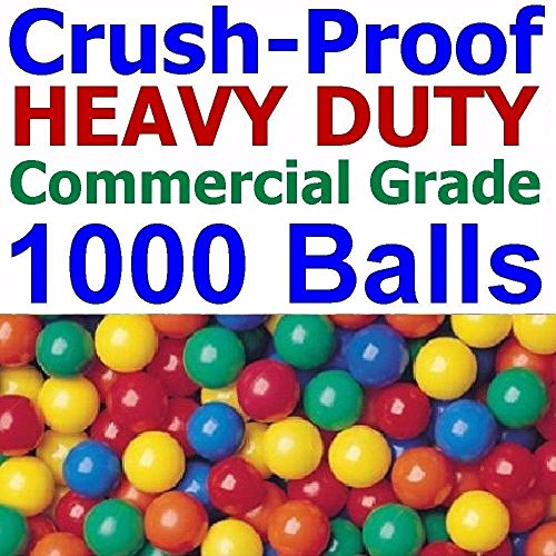 1000 pcs Commercial Grade Heavy Duty Crush-Proof Plastic Ball Pit Balls in Bright Colors - Jumbo 3'' Phthalate Free BPA Free non-PVC non-Recycled non-Toxic by My Balls by CMS