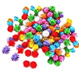 Zeroyoyo 100pcs Pet Accessories Bird Parrot Squirrel Hamsters Sparkly Glitter Tinsel Pompom Balls Small Pom Pom Ball Toys 1.5cm