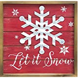 Rustic Wood And Metal Classic Christmas Sayings Hanging Framed Holiday Signs Snowflake