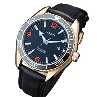 f4ae8d691 Parnis 45mm Black Dial Rose Gold Case Automatic Movement Men's Wrist Watch  Sapphire Glass Luminous Marks: Amazon.co.uk: Watches