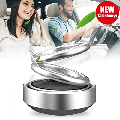 FJ Car Air Freshener,Solar Energy Rotating Cologne Aromatherapy Diffuser Air Purifier Odor Eliminator for Car Home Double Ring Interior Decoration Accessories (Silver): Automotive