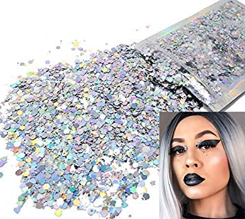 United Body Glitter Tattoo Holographic Face Hair Sequins Eyeshadow Mermaid Makeup Loose Pigment Powder Chunky Glitter For Art Festival Attractive Appearance Beauty & Health