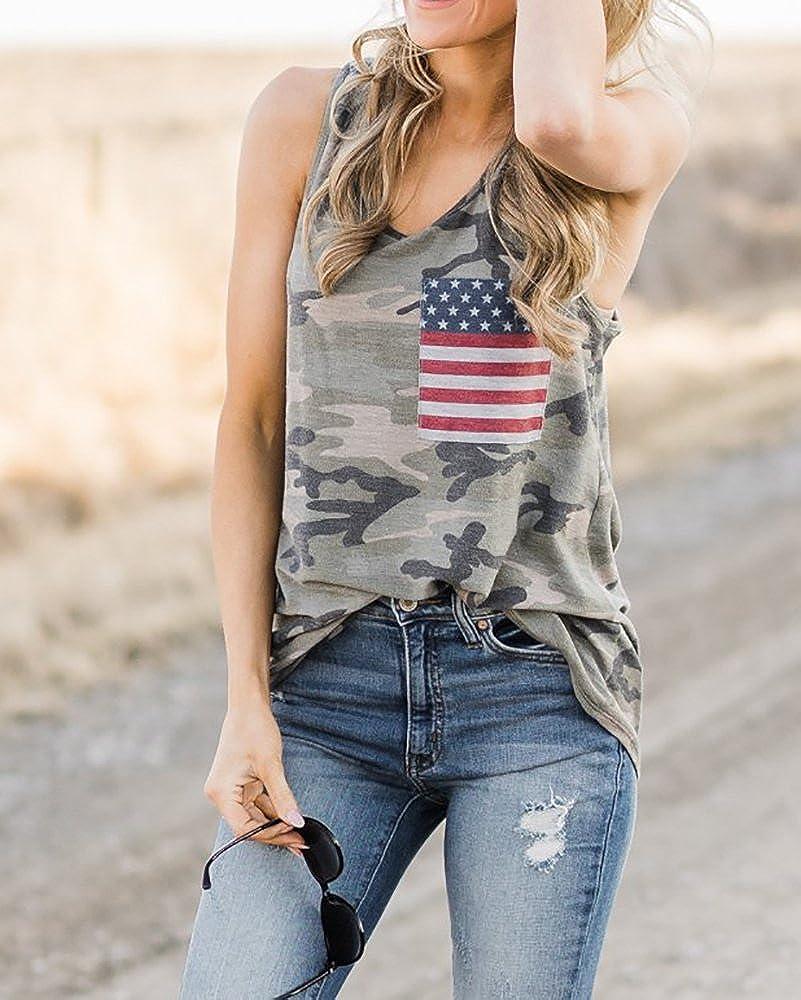 Beautife Womens Summer Sleeveless Camouflage Tank Tops Casual American Flag Print Camo Racerback T Shirts