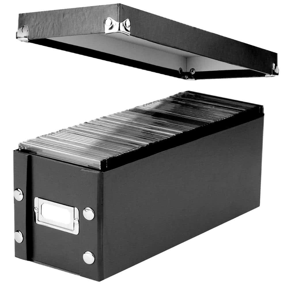 TableTop King SNS01521 5 1/4'' x 14'' x 5 3/4'' Black Media Storage Box with Lid