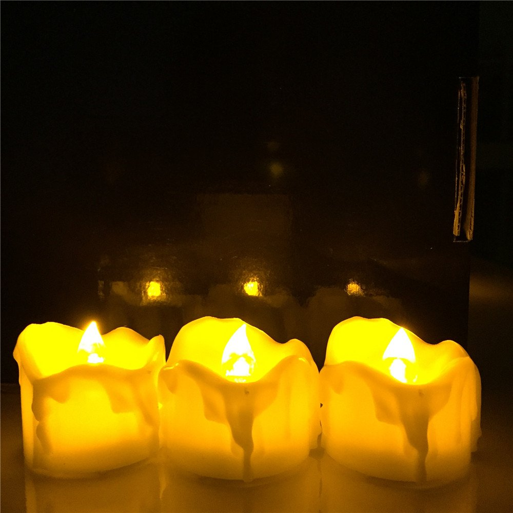 Micandle 12pcs Amber Yellow Flickering Timing Function Flameless LED Tea Lights Candles with Timer 6 Hrs on 18 Hrs Off ,Wax Dripped Battery Operated Electronic Candles for Wedding Party