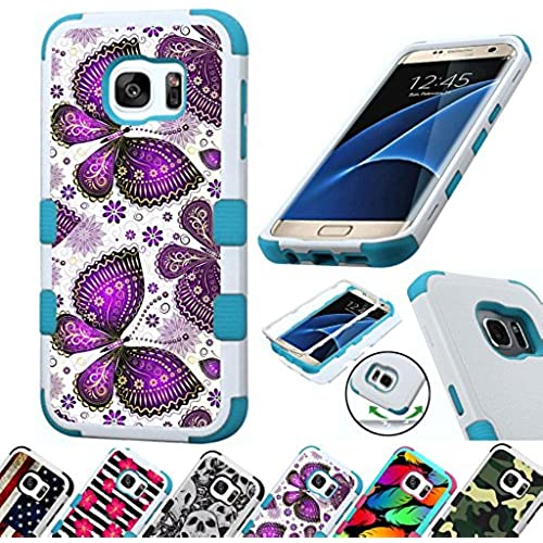 For Samsung Galaxy S7 Edge G935 Case 3-Layer Armor Hybrid Rugged Silicone Phone Cover FancyGuard (Purple Butterfly Sales