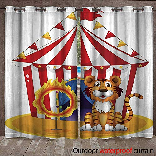 BlountDecor Outdoor Blackout Curtain Circus Tent Tiger and Ring of fire Waterproof CurtainW120 x - Tigers Tent