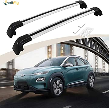 ONLY FIT KONA EQUIPEED Original ROOF Side Rails Autekcomma Roof Rack Cross Bars for Hyundai Kona 2018-2019 Aircraft Aluminum Black Matte with Anti-Theft Locks Max Loading Up to 260 LB