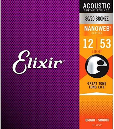 Amazon.com: Elixir Strings 80/20 Bronze Acoustic Guitar Strings w NANOWEB Coating, Light (.012-.053): Musical Instruments