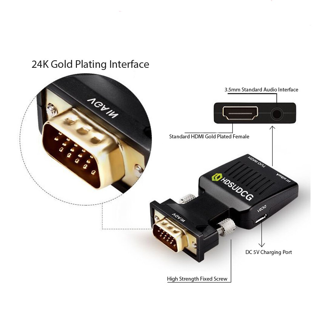 Black VGA to HDMI,1080P VGA Male to HDMI Female Adapter Converter with 3.5mm Stereo Video Audio Port to HD Converter for HDTV,PC,Laptop,Xbox PS4 PS3 TV STB VHS VCR Blu-ray Projector